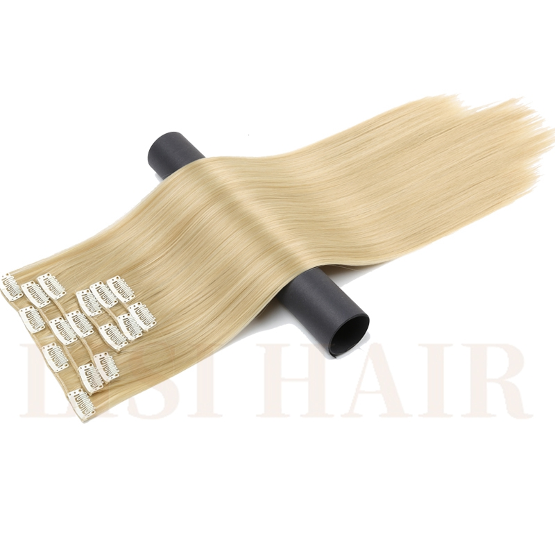 LISI HAIR Six Piece 24 Inch Long Synthetic Hair 16 Clips Synthetic Fake False Hairpiece Clip In Hair Extension