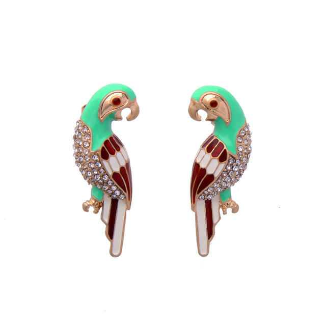 Lovely S Jewelry Crystal Multi Color Birds Parrot Earrings Hot High Quality Specialize Cute