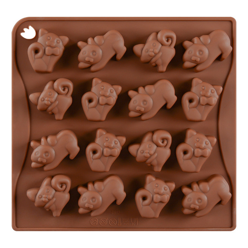 16 <font><b>Cups</b></font> Lovely Cartoon <font><b>Cats</b></font> Shape Silicone DIY <font><b>Cake</b></font> Decoration Mold Chocolate Sugar Candy Biscuits Cookies Mould Baking Tool image