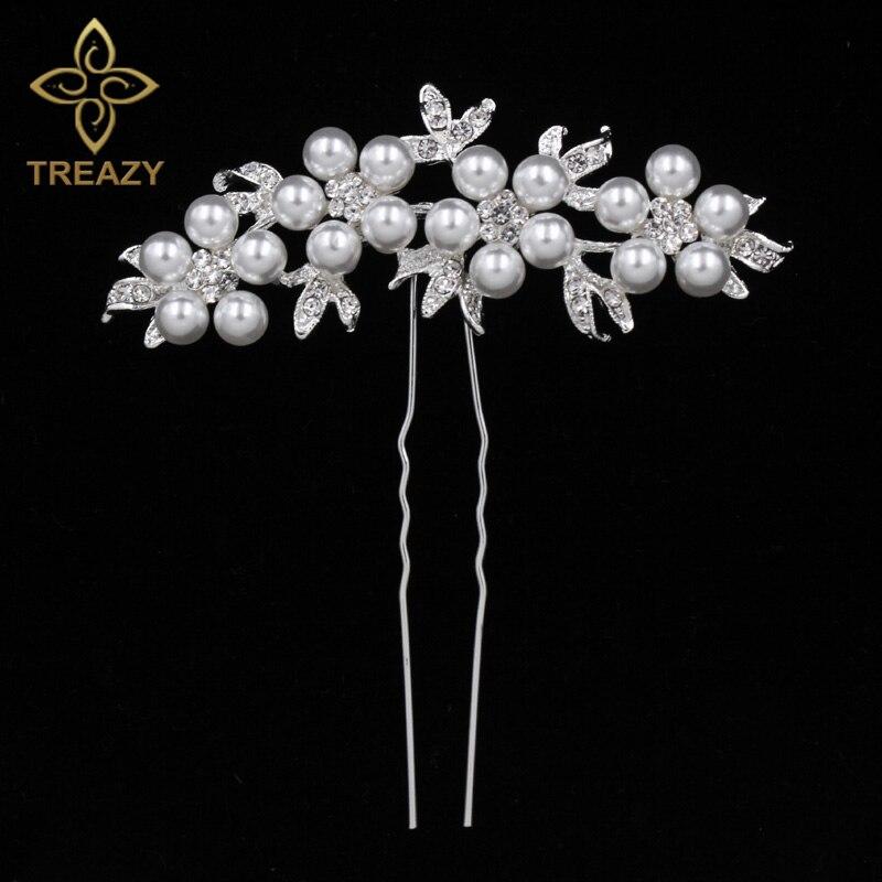 TREAZY Bridal Wedding Crystal Imiated Pearl Flower Hair Pins Elegant Headpiece Bridesmaid Veil Hair Jewelry Hair Accessories