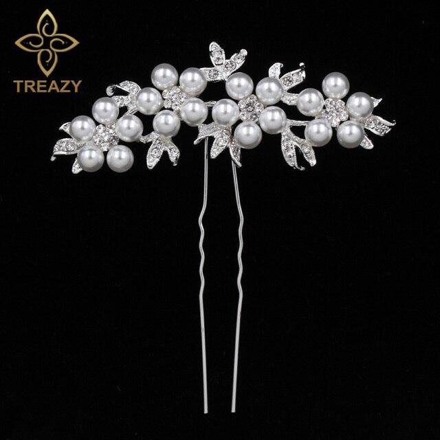 e61c1e23dd US $1.59 20% OFF|TREAZY Bridal Wedding Crystal Imiated Pearl Flower Hair  Pins Elegant Headpiece Bridesmaid Veil Hair Jewelry Hair Accessories-in  Hair ...