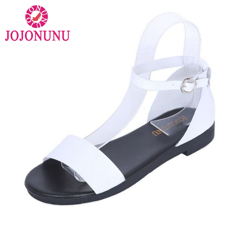 JOJONUNU Simple Women Flats Sandals Ankle Strap Open Toe Solid Color Flat Sandals Summer Beach Shoes Woman Sandals Size 35-39 stylish spaghetti strap solid color open back women s beach dress