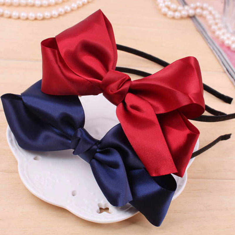Red Blue Ribbon Double-layer Bowknot Hairband Headwear Hair Accessories for Women