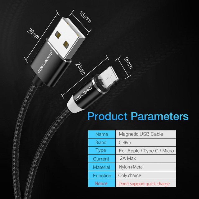 Magnetic Charging Cable For Apple / Micro USB / Type-C