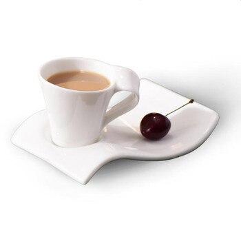Các mới nhất Châu Âu trắng xương gốm cà phê china cốc sữa tách sáng tạo sóng cốc cà phê