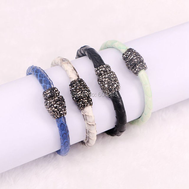 5pcs Zyz131 2982 Leather Magnetic Bracelets Pave Crystal Clasp Bangle Snake