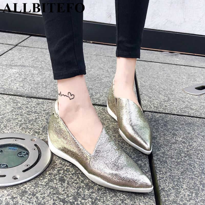 ALLBITEFO new fashion brand genuine leather pointed toe wedges heel women pumps high shoes party