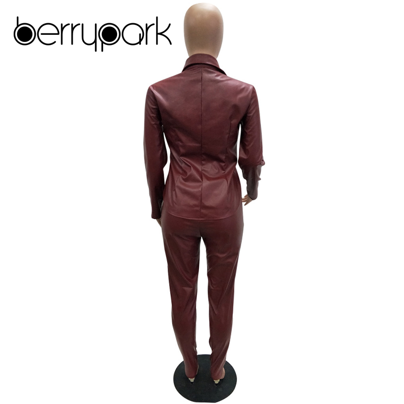 BerryPark High Fashion PU Leather 2Pcs Set 2019 NEW Women Turn-Down Collar Pockets Jacket and Pencil Pants Outfits Dropshipping 5