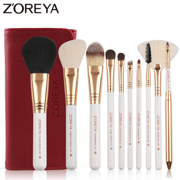 ZOREYA 10pcs Synthetic Makeup Brushes Set Durable Wooden Handle Cosmetic Kit Concealer Powder Eye Shadow Fan Brushes For Make Up