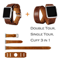 DALAN 3 in 1 Cuff Single/ Double Tour wraps strap for apple watch band Leather loop extra-long