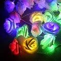 Frete grátis 1 Pc 80 LED Bateria Operado 10 m Flor Rosa Decoração Do Quarto Casamento Luz fada 80 LED Rose Flores Corda luzes