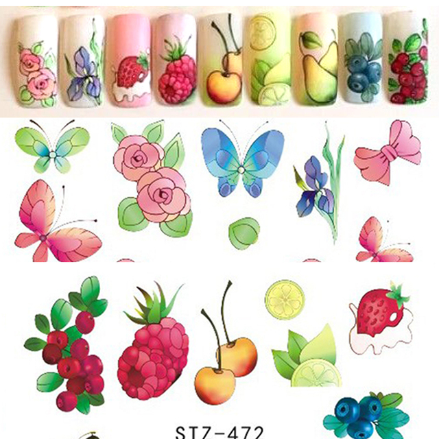 58Sheets Fruit/Necklace Jewelry Pattern Nail Stickers Nail Art Water Transfer Stickers Mixed Nail Tips Decals Decor BESTZ455-512