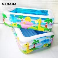 High quality Plastic rectangular Undersea world pattern children's inflatable pool tub insulation children's play pool ball pool