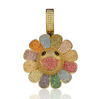 Moveon New Exclusive Sun Flower Pendant For Necklace Takashi Rotate 3A Zrcon Encrusted Charm Pendant Jewelry For Women Men Gifts