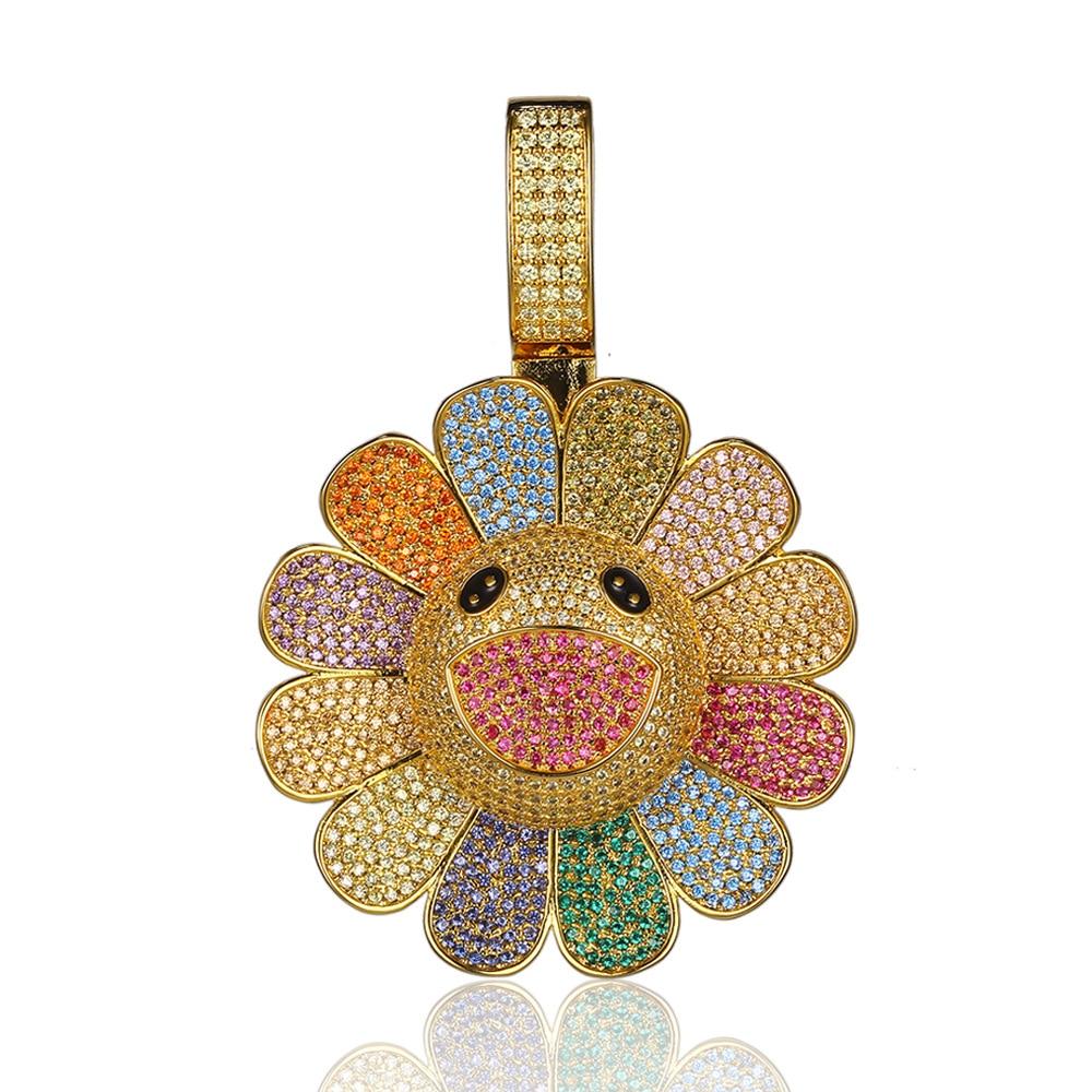 Moveon nouveau pendentif fleur soleil exclusif pour collier Takashi rotation 3A Zrcon incrusté pendentif à breloque bijoux pour femmes hommes cadeaux
