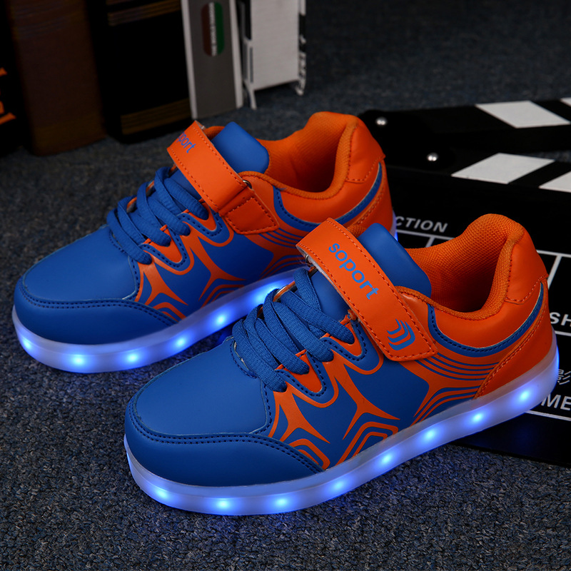 New LED Light up Children Shoes Kids Sneakers Luminous USB Charging Flat Casual Sports Shoes Boys Girls Glowing Shoes Fashion