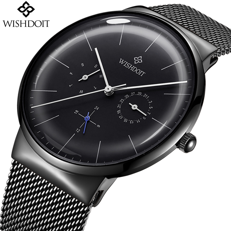Reloj New Mens Watches WISHDOIT Top Brand Luxury Men s Casual Fashion Business Watch Men Stainless