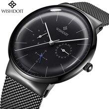 Reloj Новый Для мужчин s часы WISHDOIT лучший бренд класса люкс Для Мужчин's Повседневное модные Бизнес часы Для мужчин Нержавеющаясталь Водонепроницаемый кварцевые часы