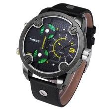 High quality Luxury Men Watch Brand North Three Time Movement Quartz watch WristWatch Leather Sport Mens Watch Relogio Masculino