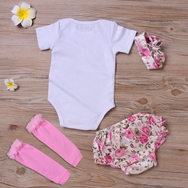 4Pcs Newborn Baby Girl Clothes 2019 Summer Short Sleeve Cotton Romper Floral Shorts Leg Warmer + Headband Prince Daddy Outfits