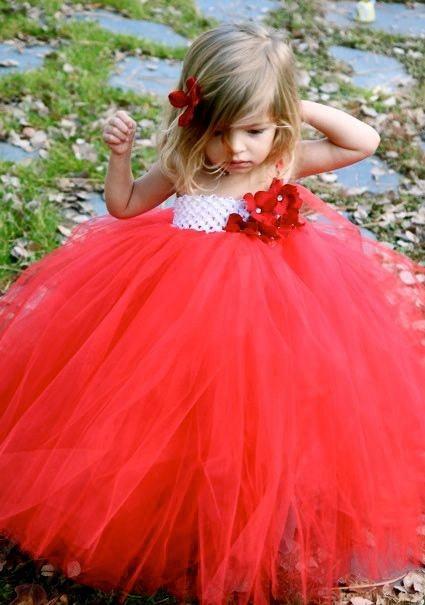 Cute Girls Red Tutu Dresses Kids Handmade Fluffy Crochet