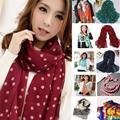 Мода 160X40 см В Ширину и наматывается вокруг стиль Мягкий Шифон Dot Печати Женщины Леди Длинные Пашмины Шарфы Warp шаль женский bufanda