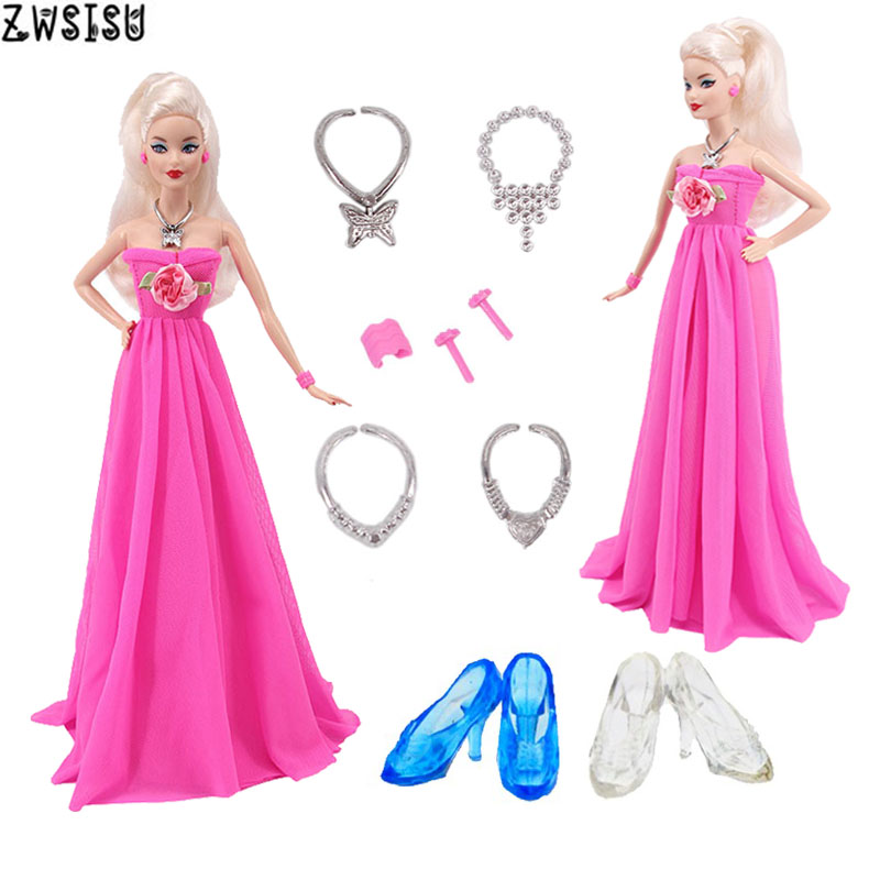 Doll Clothes Accessories 9 Pcs/Set=1 Wedding Dress+4 Necklaces+Earrings+1 Bracelet+2 Crystal Shoes For Barbies Party Girl`s Toy