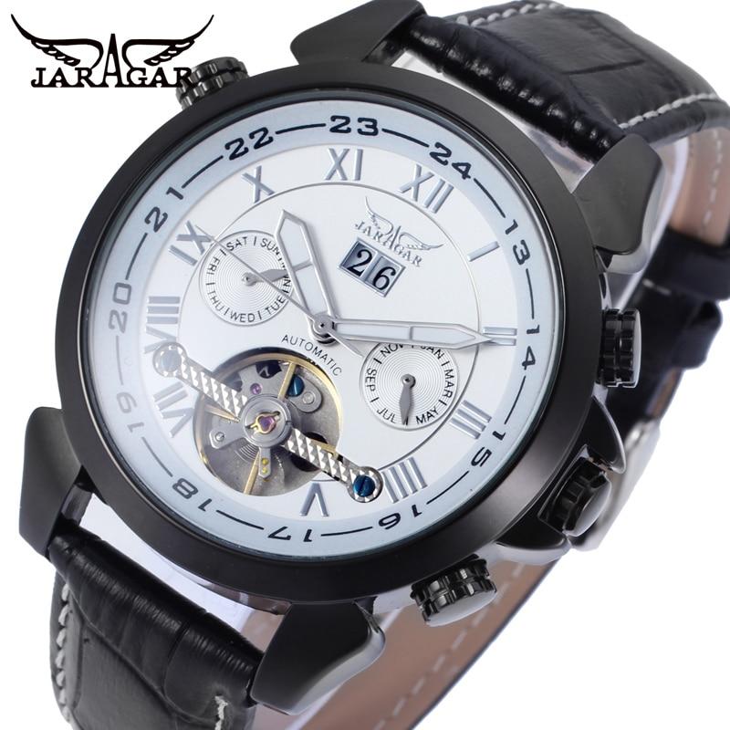 цена на JARGAR Men's Watch Fashion Automatic Transparent Day Date Display Calendar Tourbillon Wrist Watch White