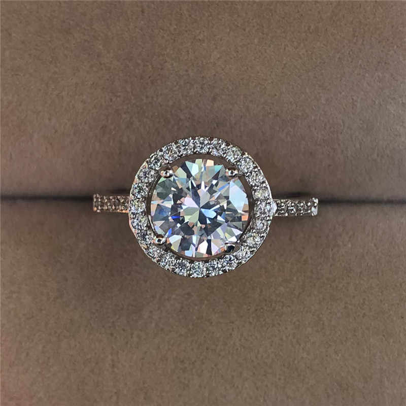 Luxury Female Crystal Round Engagement Ring Fashion 925 Silver Filled Zircon Stone Ring Promise Bridal Solitaire Rings For Women