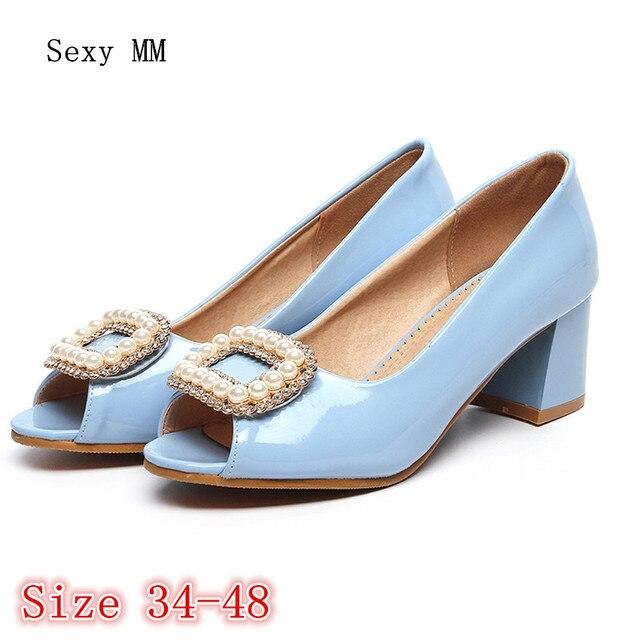 e8eaac74a1e140 Zomer Pompen Vrouwen Peep Toe Hoge Hakken Partij Trouwschoenen Vrouw Hoge  Hak schoenen Plus Size 34