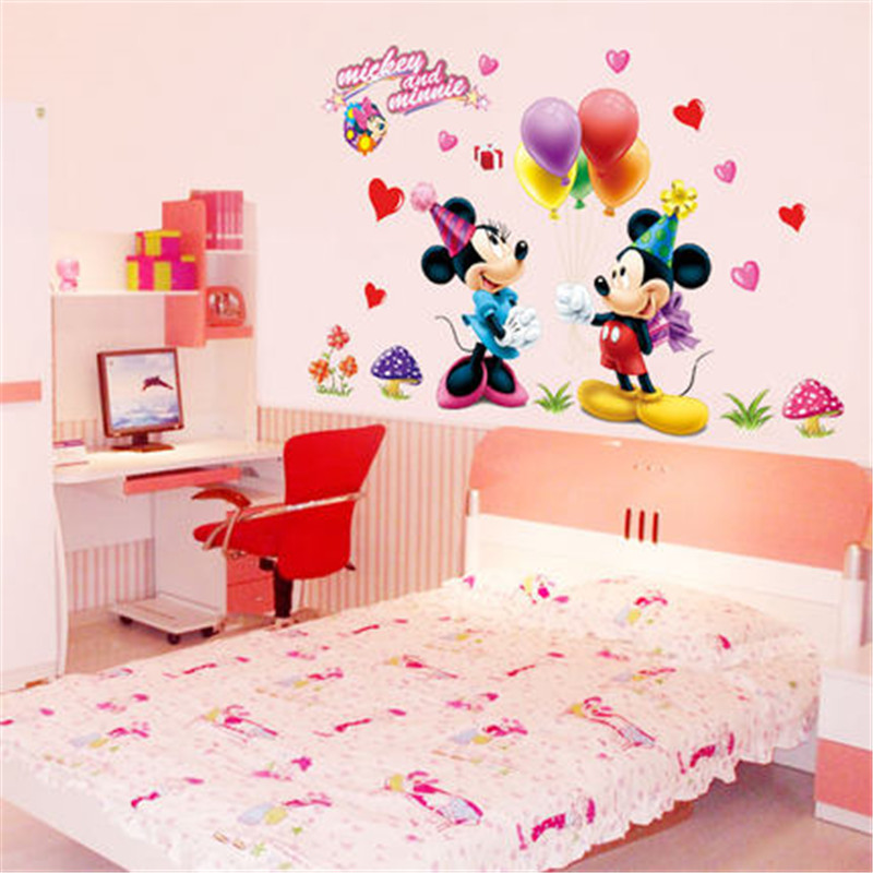 Cartoon Mickey Minnie Mouse Wall Stickers Decals For Kids Room Baby Bedroom Wall Art Nursery Amusement Park DIY Poster