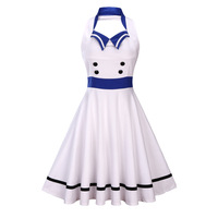 Women Harajuku Sailor Collar Navy Blue Dress Summer Sexy Halter White Hepburn Retro 50s Swing Rockabilly Vintage Dress Vestidos