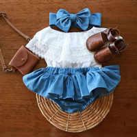 Одежда для маленьких девочек Новинка 2019 года, летняя детская одежда Одежда для новорожденных девочек кружевной топ с оборками + джинсовые ш...