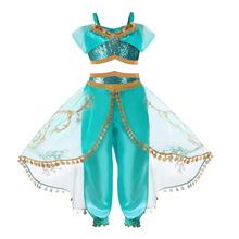 2pcs Kids Girls Princess Jasmine Halloween Christmas Party Cosplay Costumes For Children Party Belly Dance Dress Indian Costume indian princess belly dance tulle feather party mask