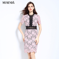 MUSENDA Plus Size Women Hollow Out Patchwork Lace Pencil Pink Dress 2017 Summer Sundress Lady Casual Vintage Party Office Dress