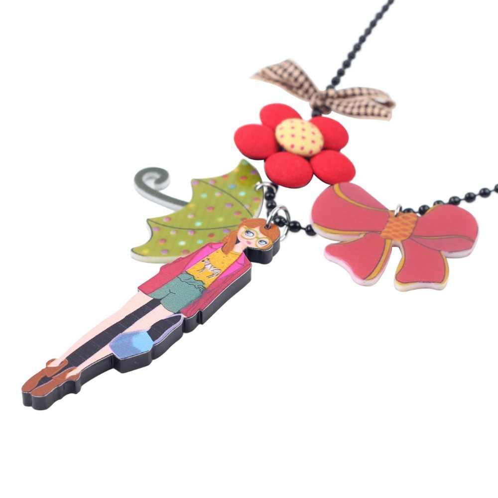 WEVENI oryginalny dziewczyna parasol rysunek naszyjnik wisiorek długi łańcuszek Hot Trendy hurtownie akrylowe biżuteria dla kobiet
