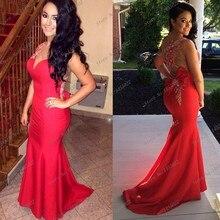 Neue Mode 2014 Frauen Red Mermaid Brautkleider Sheer Durchsichtig Kristall Friesen Prom Kleider Lange Abendkleid Mit Bogen