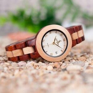 Image 4 - BOBO BIRD drewniany zegarek kobiety Relogio Feminino luksusowa bransoletka z drobnym drewnianym paskiem zegarki kwarcowe V M19