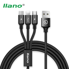 llano 3 in 1 USB Data Cable For iPhone Micro USB Type C 3A Fast Phone Charger Cable Code for iPhone X iPad Samsung S9 Xiaomi Mix