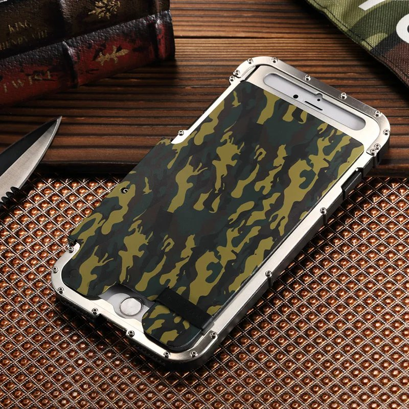 Armor Iron Man Steel Metal Shockproof Flip Case For iPhone 7 8 4.7 inch Camo Style luxury phone cover For iPhone 8 7 Plus 5.5