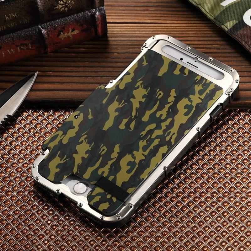 Armure fer homme acier métal antichoc étui pour iPhone 7 8 4.7 pouces Camo Style luxe téléphone couverture pour iPhone 8 7 Plus 5.5