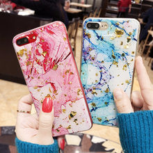 LOVECOM Phone Case For iPhone 6 6S 7 8 Plus X Hot Gradient Color Gold  Platinum Sequins Marble Soft TPU Phone Back Cover Cases aab44bf428e3