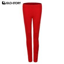 GLO-STORY женские трикотажные леггинсы с буквенным принтом средней талии до щиколотки уличная спортивная одежда эластичные тонкие женские леггинсы WRT-7471