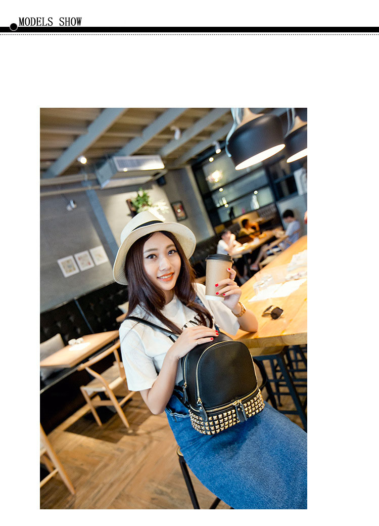 Classic Famous Brand Women Backpacks Genuine Leather Designer Backpack For Lady Fashion Rivet Double Shoulders Bags (14)