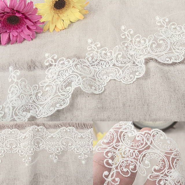 19 yards(5 yards)/lot width9.5cm Novelty DIY lace fabrics white,black mesh embroidery lace fabrics/wedding Accessories