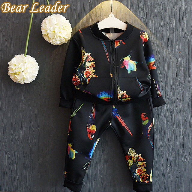 Bear Leader Kids Clothing Sets 2016 Autumn Girls Boys Clothes Casual Active Children Clothing Cartoon Print Jackets+Pants 2Pcs