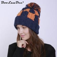 2a0cb028767 BooLawDee women winter warming plaid pompom beanies watch hat female  thermal casual skull cap size elastic