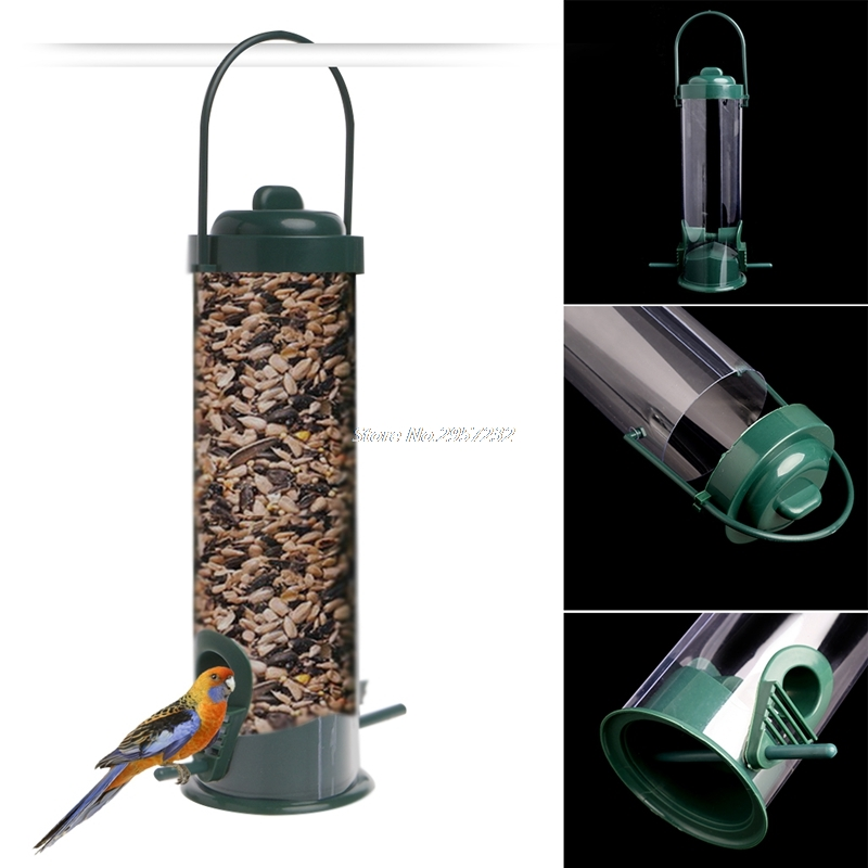 Green Hanging Wild Bird Feeder Seed Container Hanger Garden Outdoor Feeding yy56