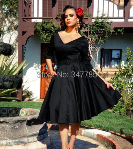 Autumn Winter Women Vintage 50s V Neck 12 Sleeve Rockabilly Midi