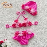 Girls Swimsuit Floral Summer Cartoon Baby Girls Swimwear Cute Flower Swimsuit Kids Bikini Child Swimsuit